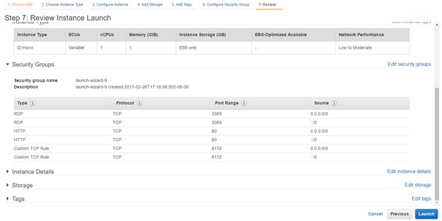 AWS Review Instance Screen