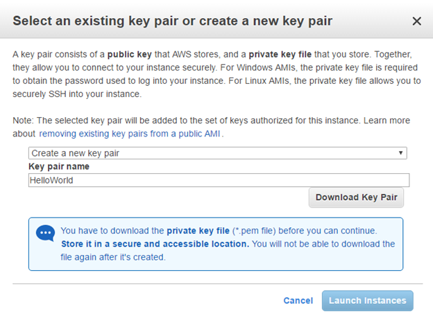 AWS Select Key Pair
